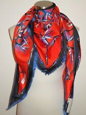 NWT AUTHENTIC EMILIO PUCCI 100% SILK BAMBOO ORANGE/BLUE TRIANGLE SCARF Italy