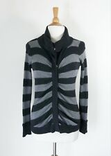 DKNY JEANS // S // $180 NEW Charcoal Stripe High Neck Cotton Knit Cardigan