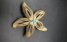 Vintage signed Capri Gold Tone Faux turquoise starfish star  Brooch Pin