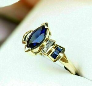 1.35CT Marquise Blue Sapphire & Diamond Engagement Ring 14k Yellow Gold Finish