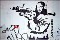 "Banksy print on canvas Abstract graffiti art decor Mona Lisa Bazooka 20x30"""