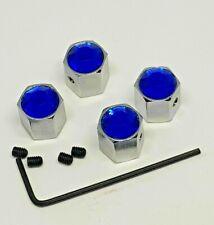 Blue car tire Dust Caps Valve Locking Antitheft Mini Fiat VW Audi BMW Merc #209