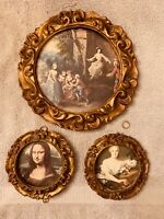 Italian Florentine Wood Wall Plaque Gold Pastoral + 2 Plastic Plaques