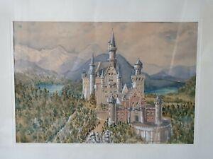 Schloß Neuschwanstein mit Landschaft. Feines Aquarell, signiert von Leidtner.