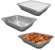 Large Aluminium Foil Dishes Trays Gastro & Lids Bake Pie 61mm Deep x 5 Baking
