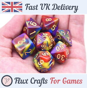 7pcs Red Acrylic RPG Dice Set Blend D20 DND Tabletop Dungeons Flux Crafts