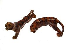 Pair of treacle glaze style finish tiger figurines - CLT59