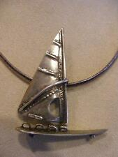 Windsurfing Sailboat Boat Pendant Necklace Wrought Sterling 800 Sailing Regatta