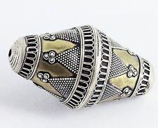 Turkmen silver firegilded bicone focal bead (ONE) B28