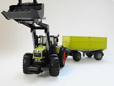 Bruder 03011 Claas 936 RZ Traktor mit Frontlader und Fliegl Kipper 02203 Bworld