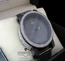 MEN'S NEW DIAMOND MAX BLACK GOLD FINISH GENUINE DIAMOND+7 ROW CUSTOM BAND WATCH