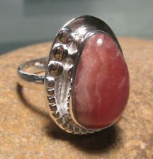 Sterling silver chunky RHODOCHROSITE stone ring UK O¾-P/US 7.75. Gift Bag.