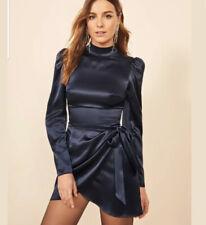NWT $278 Reformation Josefine Dress navy blue mini silk long sleeve Size 4