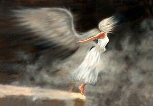 Angel Painting, Psalm 91:11, Spiritual Artwork, Signed canvas Print,