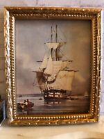 "Vintage Dollhouse Framed Naval Print - ""H.M.S. VANGUARD"" 1:12"