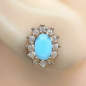 Deco 1.80ctw Larimar & Diamond Cut White Sapphire 14K Yellow Gold 925 Earrings