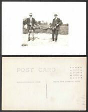 Old Real Photo Fishing Postcard - Two Men with String of Fish