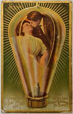 Lightbulb Couple Kissing Antique Valentine's Postcard Lovelights