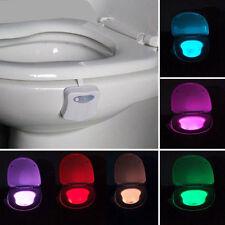 Hot 8-Color Motion Activated Toilet Night Light LED Seat Nightlight Sensor Lamp