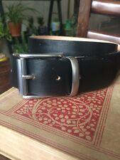 "Handmade Full Grain Black Leather Belt 1.5""/38mm wide Stainless Steel Buckle"