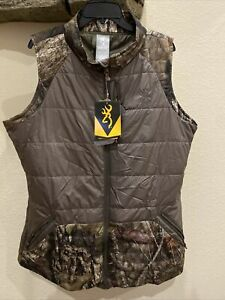 Browning Camo Hunting Full Zip Puffer Vest Mossy Oak Breakup Country XXL