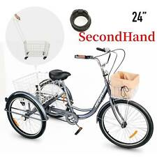 "SecondHand 24"" 1-speed Adult Tricycle Trike w/Removable Basket for Shopping"
