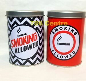 Removable Lid Smoking Allowed Metal Cigarette Tin Ashtray, Car Ash or Piggy Bank