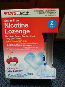 CVS Nicotine Mini-Lozenge 2Mg Sugar Free 81ct Cherry Ice - Exp 9/2022