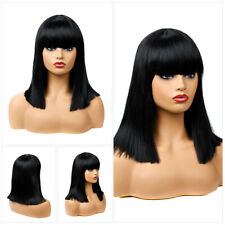 "15"" Women BOB Wigs Long Straight Natural Black Hair Synthetic Wig With Bangs US"