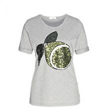 Sem per Lei Shirt in grau mit Pailettenmotiv bestickt, Zitrone, Größe 42