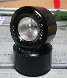 1/24 URETHANE SLOT CAR TIRES 2 pr G/Y Drag Strip fit H&R & Pro-Track Flat Hubs