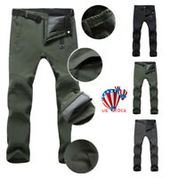 Men Waterproof Windproof Winter Warm Long Pants Thick Trousers Hiking Skiing US