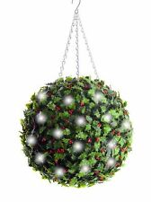 Best Artificial Pre-Lit 36cm Christmas Holly Topiary Balls with White LED Lights