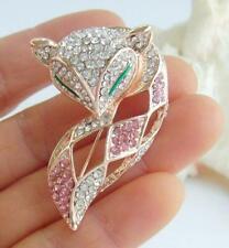 Pink Clear Rhinestone Crystal Ee06347C3 Elegant Animal Fox Brooch Pin Pendant