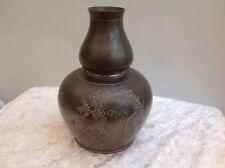 Antique Kayserzinn Art Nouveau Pewter Etched Vase