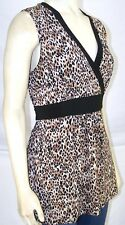 Carole Little Black Tan Beige Sleeveless V-Neck Top Womens Size Small 4 6