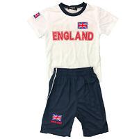 Boys Kids England T Shirt Short Set Kit Football Summer