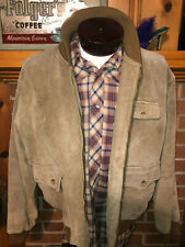 RALPH LAUREN Vtg POLO COUNTRY Dry Goods Leather Suede Plaid Lined jacket Coat L