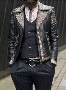 Handmade Men's Black Studded Punk Style Fashion Leather Jacket