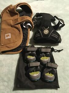 Mixed Lot of Dog Accessories Carhartt Vest, Ruff wear 4 Vibram Shoes And Others.