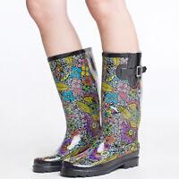 SheSole Women's Waterproof Rubber Rain Boots Mid Calf High Wellies Winter Shoes