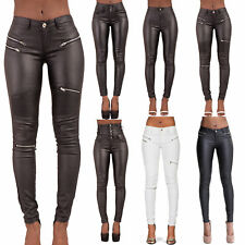 WOMEN LEATHER LOOK TROUSERS CELEB BLACK WET LOOK SEXY JEANS SIZE 6 8 10 12 14