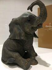 Sitting Baby Elephant Calf Ornament Figurine Figure Gift Present