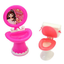 Child Children Toy Gift Toilet and Sink Set Bathroom Furniture for Doll's House