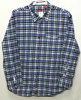 Mens IZOD 2XL XXL Blue Plaid 100% Cotton Long Sleeve Button Front Shirt