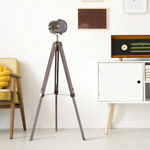 HOMCOM Vintage Tripod Floor Lamp Spotlight Height Adjustable Copper Finish Pine