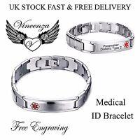 STAINLESS STEEL MEDICAL ALERT ID CHUNKY BRACELET FOR MEN WOMEN UNISEX VINCENZA