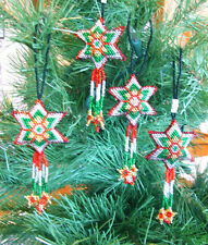 4 Christmas Ornaments Shooting Stars Hand Beaded Fair Trade Red Green & Silver