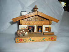 Vintage Music Box working tells the Weather AUSTRIA Wooden Chalet GREAT wind up