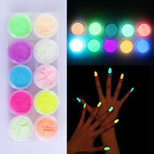 Beauty Neon Phosphorescent Fluorescent Acrylic Nail Art Powder Glow In Dark Deco